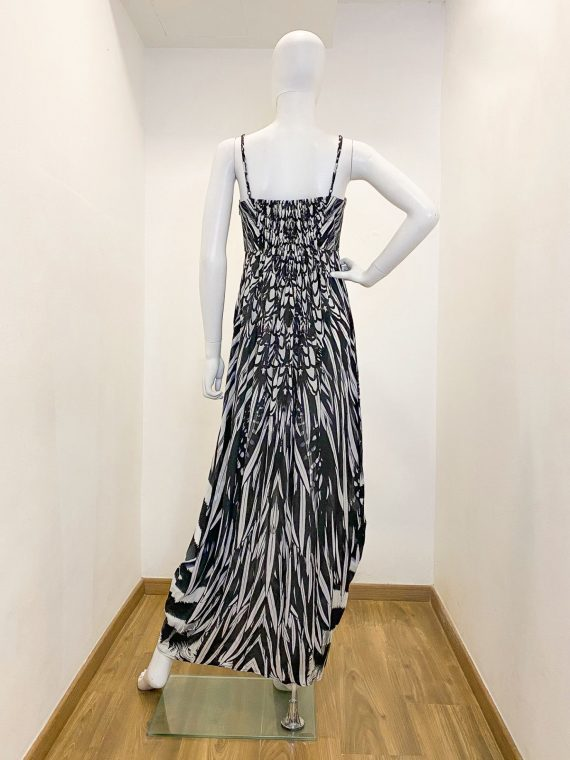 Simone Irani – Melissa, Bustier Maxi Dress_ Black and White Feather 2