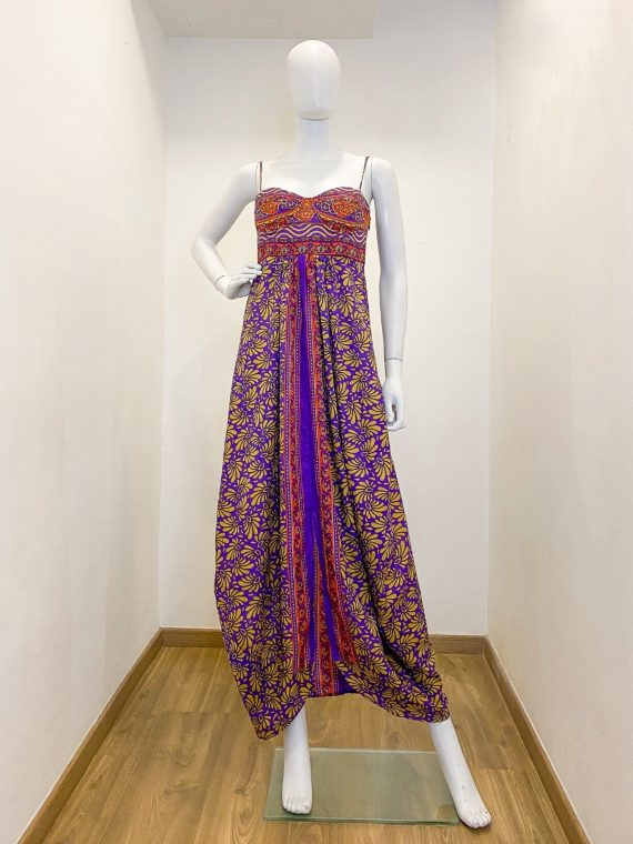 Simone Irani – Melissa, Sari Bustier Maxi Dress_ Purple and Gold Printed 1