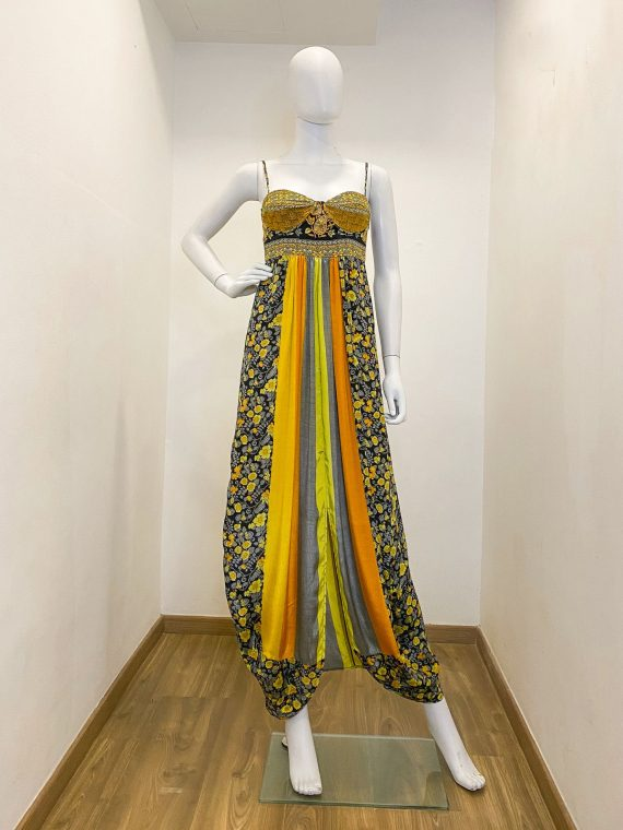 Simone Irani – Melissa, Sari Bustier Maxi Dress_ Sunflower Printed 1
