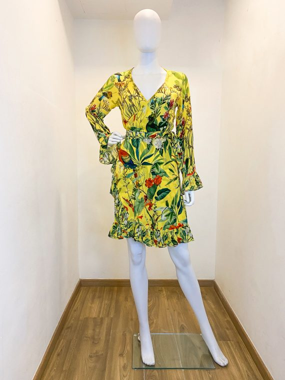 Simone Irani – Rebekah, Flounce Sleeve Wrap Dress_ Birds of Paradise Yellow 1