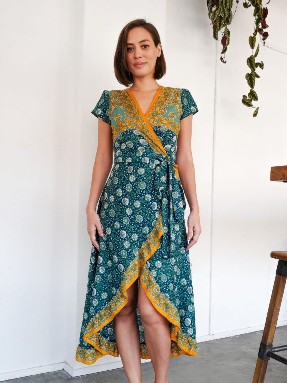 Simone Irani – Roma, Sari Wrap Dress_ Azure Printed 1