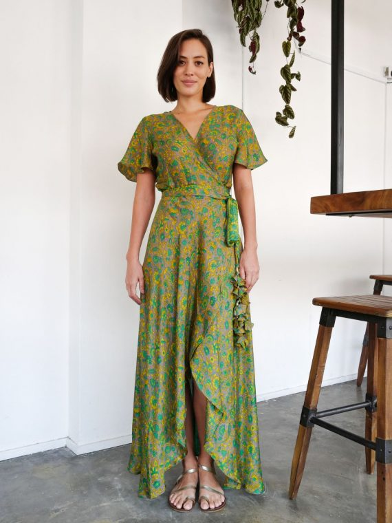 Simone Irani – Roma, Sari Wrap Dress_ Green and Gold Printed 1