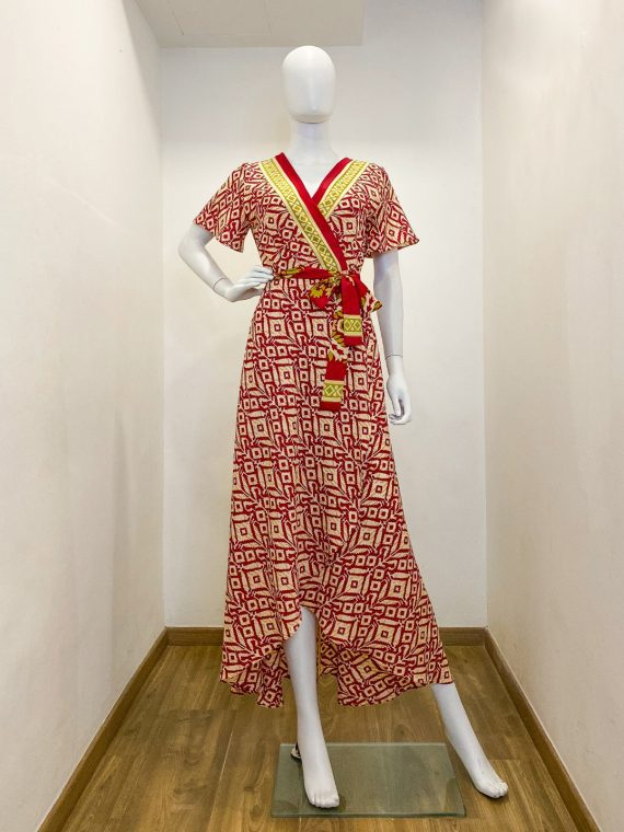 Simone Irani – Roma, Sari Wrap Dress_ Maroon Printed 1
