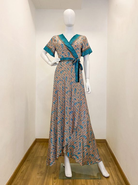 Simone Irani – Roma, Sari Wrap Dress_ Turquoise Printed 1