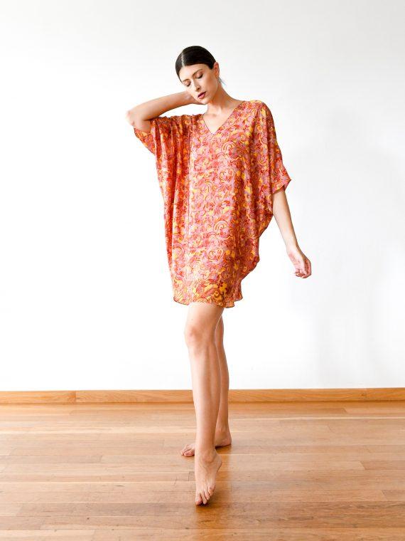 simone irani – Samira, Sari Kaftan Dress_ Fire Swirls Printed 1