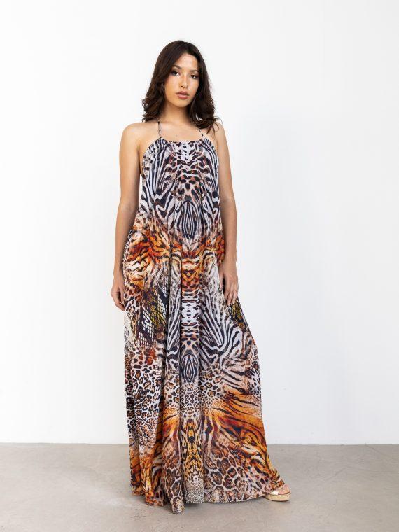 Nikita, Halter Neck Maxi Dress_ Wild Cheetah(4)
