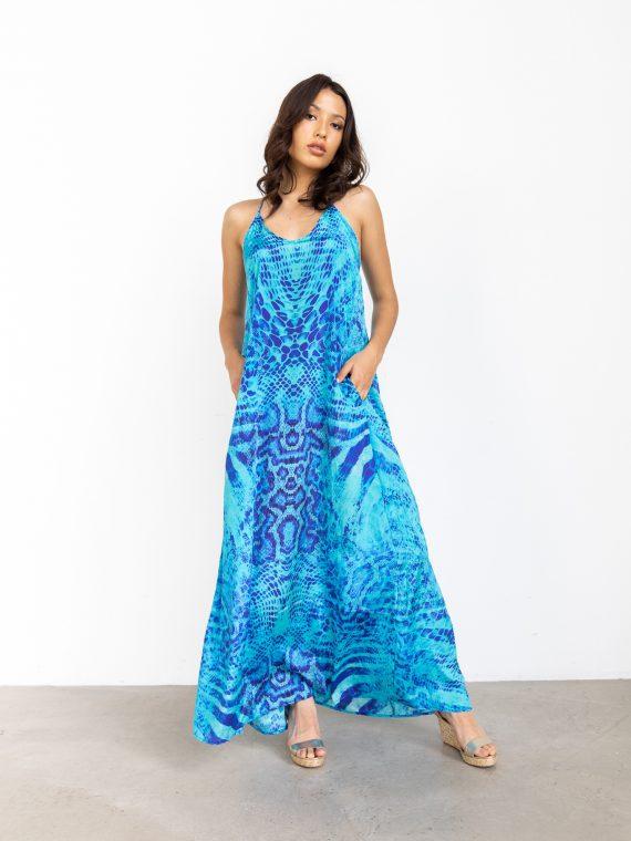 Simone Irani – Tia, T-Back Maxi Dress_ Blue Rattler(2)